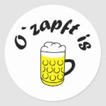 Octoberfest O' taps is Round Stickers