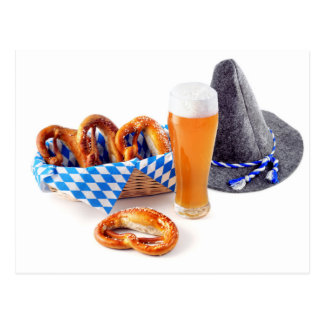 Octoberfest with has, pretzel and more beer postcard