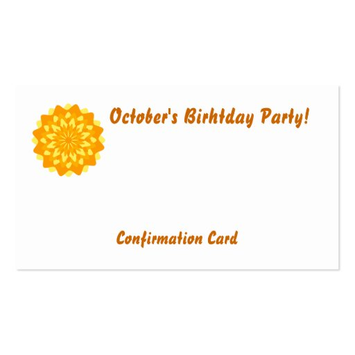 October's Birthday Party!-Customize Double-Sided Standard Business Cards (Pack Of 100)