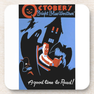 October's Bright Blue Weather Beverage Coaster