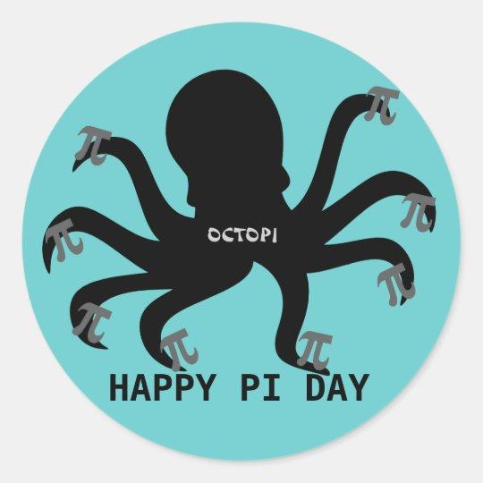 Octopi Pi Day Classic Round Sticker
