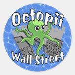 ¡Octopii Wall Street - ocupe Wall Street! Pegatina Redonda