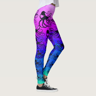 Octopodes On Pink To Green - Leggings