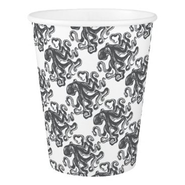 Beach Themed Octopus 1 black paper cup