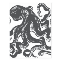 Octopus 1 black postcard