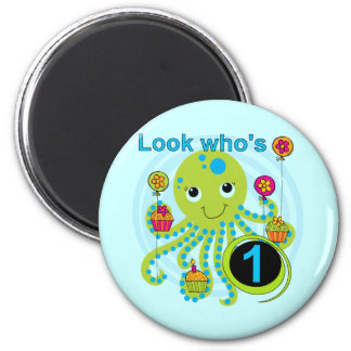Octopus 1st Birthday T-shirts and Gifts 2 Inch Round Magnet