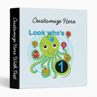 Octopus 1st Birthday T-shirts and Gifts 3 Ring Binder