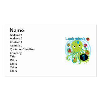 Octopus 1st Birthday T-shirts and Gifts Business Card