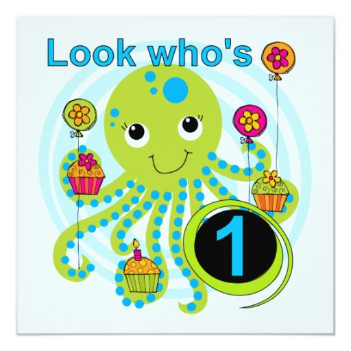 Octopus 1st Birthday T-shirts and Gifts Invites