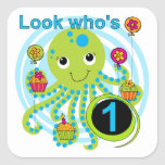 Octopus 1st Birthday T-shirts and Gifts Stickers