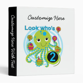 Octopus 2nd Birthday T shirts and Gifts Binder