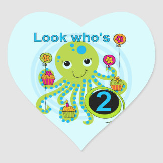 Octopus 2nd Birthday T shirts and Gifts Heart Sticker