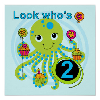 Octopus 2nd Birthday T shirts and Gifts Poster