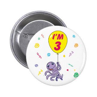Octopus 3rd Birthday 2 Inch Round Button