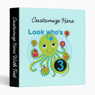 Octopus 3rd Birthday T-shirts and Gifts 3 Ring Binder