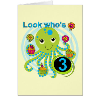 Octopus 3rd Birthday T-shirts and Gifts Card