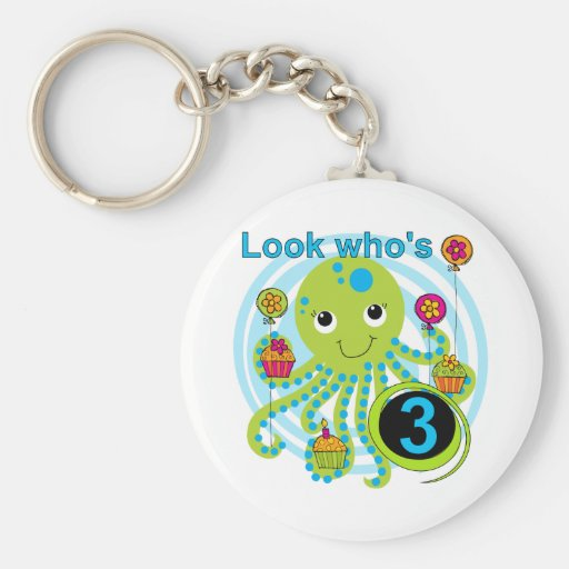 Octopus 3rd Birthday T-shirts and Gifts Keychain