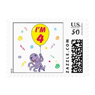 Octopus 4th Birthday Postage