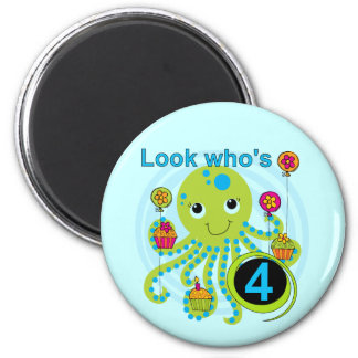 Octopus 4th Birthday T shirts and Gifts 2 Inch Round Magnet