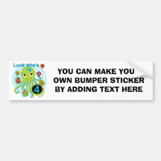 Octopus 4th Birthday T shirts and Gifts Bumper Sticker