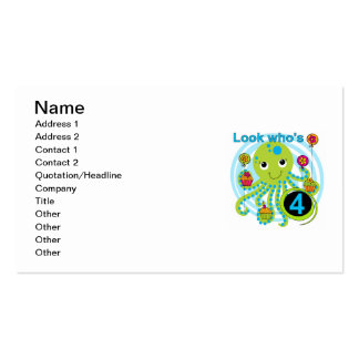 Octopus 4th Birthday T shirts and Gifts Double-Sided Standard Business Cards (Pack Of 100)