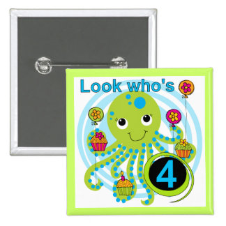 Octopus 4th Birthday T shirts and Gifts Pinback Buttons