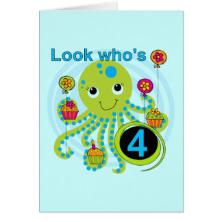 Octopus 4th Birthday T shirts and Gifts Greeting Card