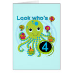 Octopus 4th Birthday T shirts and Gifts Cards