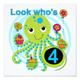 Octopus 4th Birthday T shirts and Gifts 5.25x5.25 Square Paper Invitation Card