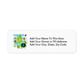 Octopus 4th Birthday T shirts and Gifts Return Address Label