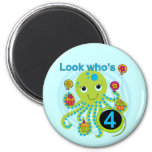 Octopus 4th Birthday T shirts and Gifts Fridge Magnet
