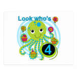 Octopus 4th Birthday T shirts and Gifts Post Card
