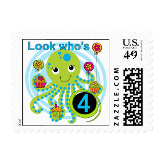 Octopus 4th Birthday T shirts and Gifts Postage Stamps
