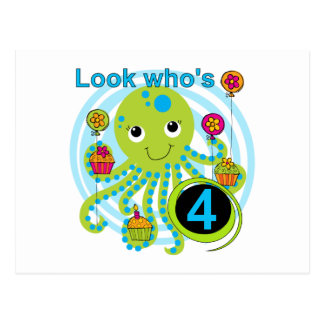 Octopus 4th Birthday T shirts and Gifts Postcard
