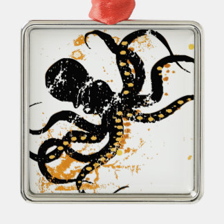 Octopus Abstract Square Metal Christmas Ornament