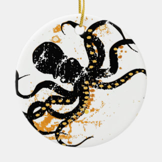 Octopus Abstract Double-Sided Ceramic Round Christmas Ornament