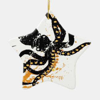 Octopus Abstract Double-Sided Star Ceramic Christmas Ornament
