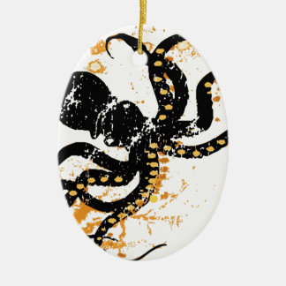Octopus Abstract Double-Sided Oval Ceramic Christmas Ornament