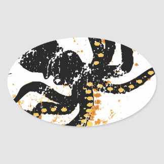 Octopus Abstract Oval Sticker