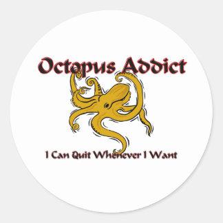 Octopus Addict Round Stickers