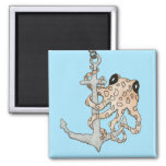 Octopus and Anchor 2 Inch Square Magnet