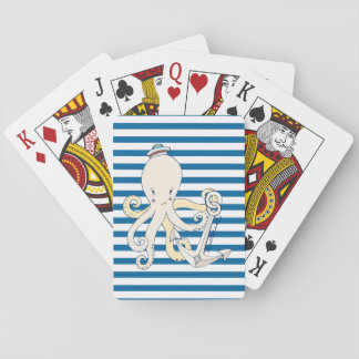 Octopus and Anchor Blue and White Stripe Cards Poker Deck