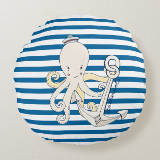Octopus and Anchor Blue White Stripe Pillow