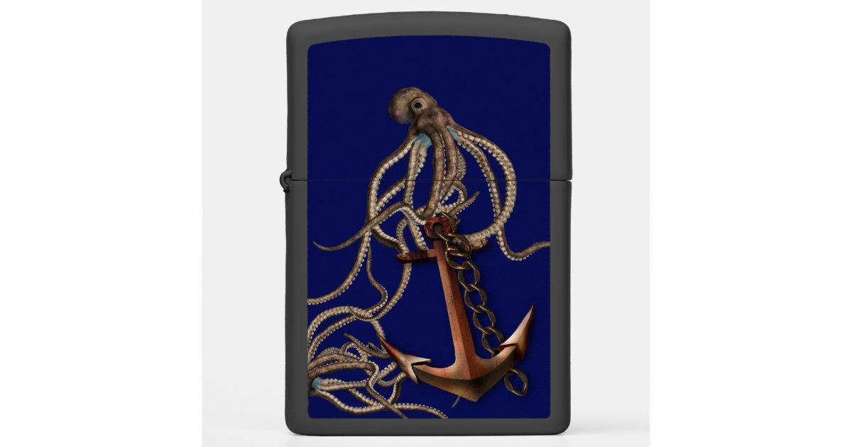 Octopus And Anchor On A Deep Dark Blue Sea Zippo Lighter Zazzle