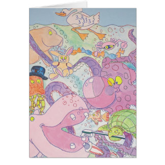 Octopus and friends greeting card