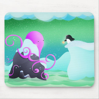 octopus and penguin - mouse pad