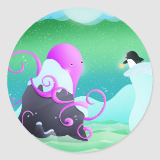 octopus and penguin - stickers