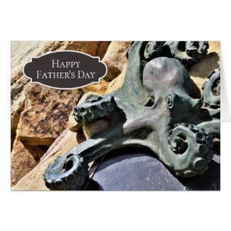 Octopus and Rocks Beach Happy Father's Day Card