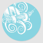 Octopus and Ship 2 Round Stickers