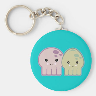 octopus and squid pals basic round button keychain